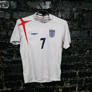 David Beckham England Team Jersey Home shirt 2005-2007 White Umbro Young XL