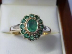 3Ct Oval Cut Created Emerald Vintage Halo Engagement Ring Yellow Gold Fns Silver
