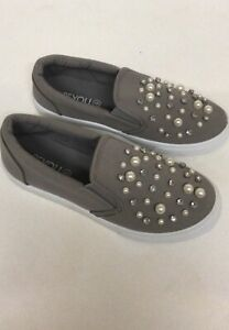 BN Be You Grey Loafer With Pearl & Diamonte Detail Size 4