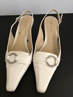 Ann Taylor Leather Slingbacks Cream Size 6.5M Pointed Toe 2.5 Inch Heels