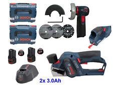 Bosch Akku Hobel GHO 12V-20 + Akku Winkelschleifer GWS 12V-76 + 2x 3.0 Ah Akkus