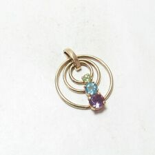Estate 10K Yellow Gold Natural Amethyst, Topaz And Peridot Pendant 0.80 Cts