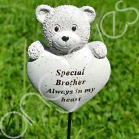 Special Brother Teddy Bear Heart Memorial Tribute Stick Graveside Plaque