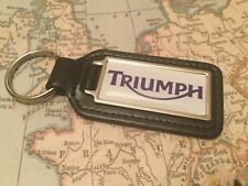 TRIUMPH Quality Black Real Leather Keyring  OBLONG  MOTOR BIKE CYCLE
