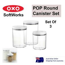 Oxo Softworks 3 Pcs Airtight POP Round Canister Kitchen Containers Set