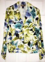 Havana Jack's Cafe Women S Blue Yellow Green Floral Blazer Jacket Hawaiian
