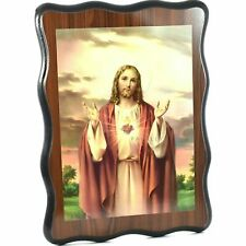 SACRED HEART OF JESUS LAMINATED PICTURE 32x23cm wood wooden print Christ hanging