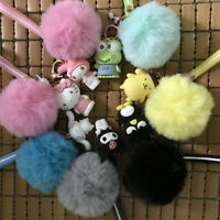 Cute Hello Kitty My Melody Kuromi Cinnamoroll Pom Pom Fur Car Keychain Key Ring
