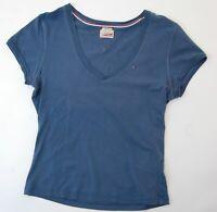 Tommy Hilfiger T-Shirt Damen Gr.M blau uni V-Ausschnitt #S754