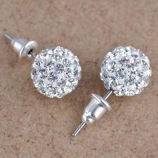 10 mm Austria Crystal Shiny Pave Disco Clay Ball Beads Ear Stud Earrings