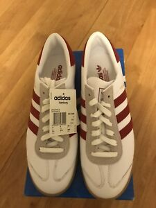 brand new adidas Hamburg Leather trainers size 9  White And Red 2014 Dead-stock