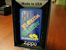 FLORIDA COUNTRY MUSIC SUPERFEST 2015 BLUE MATTE ZIPPO LIGHTER MINT IN BOX