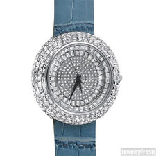 Silver Baguette Ice Orbit Iced Out Bling Watch Blue Leather