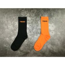 Vlone Friends Basic Crew Casual Cotton Socks Orange & Black One Size Fits Most