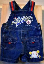 Baby Togs Kidswear Short Overalls Size 12 month adj straps snap crotch baseball
