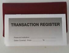 3 - Checkbook Transaction Registers & 1 Maroon Vinyl Check Book Cover Duplicate