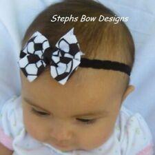 Soccer Ball Dainty Hair Bow Lace Headband 4 Preemie Newborn Toddler Black white