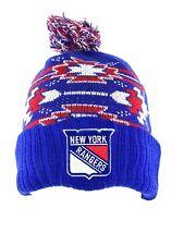 New York Rangers Hockey Blue Cuff Pom Beanie Stocking Hat Cap