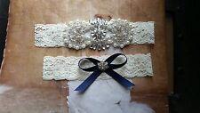 Wedding Garter Set, Something Blue, Crystal Rhinestone Set - Ivory Lace