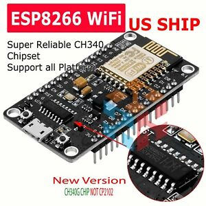 NEW NodeMcu Lua ESP8266 CH340G ESP-12E Wireless WIFI Internet Development Board