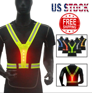 Led Light Safety Reflective Remote Vest Running Cycling Night Indicator Signal🔥