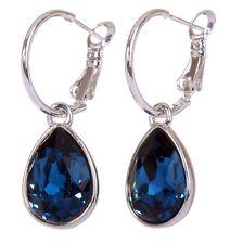 Swarovski Elements Crystal Montana Teardrop Earrings Rhodium Authentic New 7257c