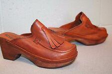 6 Brown Leather NOS Vtg 70s Fringe Kiltie Boho Crawdads Platform Clog Boot Shoe