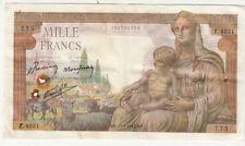 Billet banque DEMETER 1000 F 11-02-1943 MY E.4031 état voir scan trous d'épingle