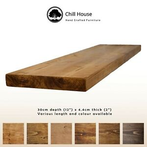 Rustic Floating Shelf Wood Solid Chunky Handmade with Brackets 12x2