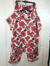 Women's Size Medium Floral 2 Piece Matching Top & Bottom Set Scrub Red Black