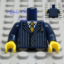 NEW Lego Male Boy Minifig TORSO w/Dark Blue Striped Suit Jacket White Shirt Tie