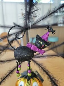 HALLOWEEN Pier 1 : Glittered Ornament- Black cat with spider Ornament