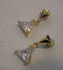 Earrings Cubic Zirconia CZ Triangle Dangle Gold Hypoallergenic Post NWT T101