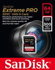 Sandisk SDXC Karte 64GB Speicherkarte Extreme Pro UHS-II U3 4K 300 MB/s