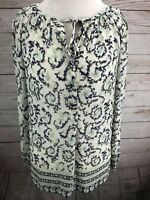 New Lucky Brand Blouse Top White & Blue Floral Women's Keyhole Peasant Size S