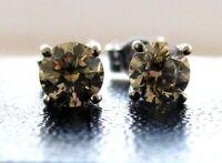 Brand New .45ct Champagne Diamond 9ct White Gold Stud Earrings £200 Freepost