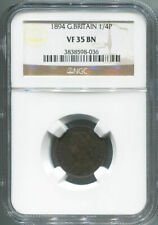 1894 Great Britain Farthing, 1/4 Penny, NGC VF 35 Brown.