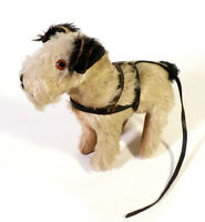 """Antique 10"""" Mohair Terrier Dog Leather Harness Squeaker Works Wire Frame Steiff?"""
