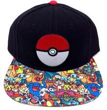 POKEMON POKEBALL BLACK SNAPBACK CAP WITH ALL OVER PRINTED VISOR *BRAND NEW