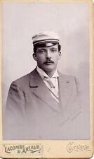 Photo carte de visite : Lacombe ; Portrait homme à la casquette , vers 1885