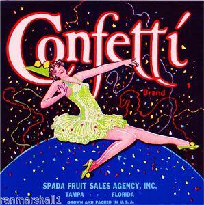 Tampa Florida Confetti Clown Girl Orange Citrus Fruit Crate Label Art Print