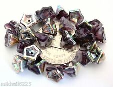 25 5 x 8 mm Trumpet Flower Beads: Vitrail - Amethyst/White