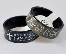 Serenity Prayer Rings - Christian Cross / Sobriety - God Grant Me the Serenity..