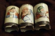 Three Beautiful Antique Japanese Kutani Lucky God Sake Cups Hand Painted.