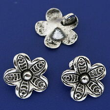 25pcs dark silver tone flower charms h3225
