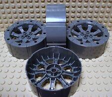 Lego Set of 4 NEW Wagon Viking Wheels  Dark Bluish Gray