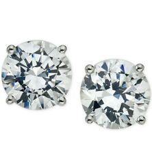 Round Diamond Push Back Stud Earrings 14K White Gold 0..20TCW New