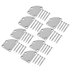8 Sets Chrome Electric Guitar Neck Joint Mounting Plate w/ Mounting Screws