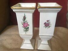 Fine German GDR Vintage Porcelain Pair of Candlesticks/Vases PG and Crown