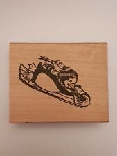 My Heart Stamps For You, rubber stamp of a Penguin on a sleigh!!  Cute!